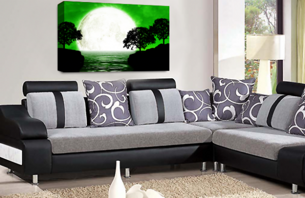 Abstract Seascape Wall Art Grey Green White Big Moon Canvas Picture